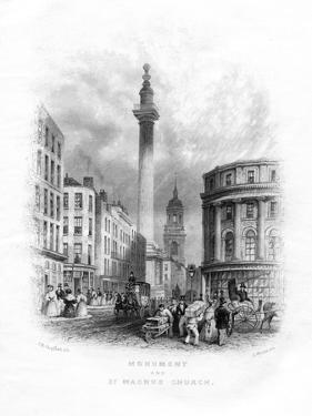 Monument and Church of St Magnus the Martyr, London, 19th Century by J Woods