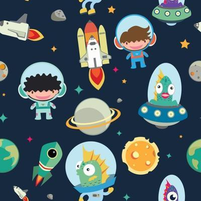 Kids Space Seamless Pattern. by moobeer