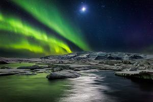 Moon and Aurora Borealis, Northern Lights with the Moon Illuminating the Skies and Icebergs