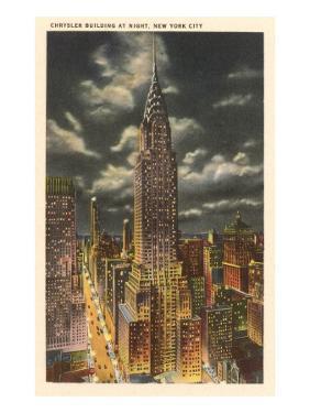 Moon over Chrysler Building, New York City