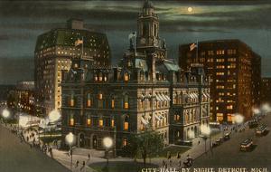 Moon over City Hall, Detroit, Michigan