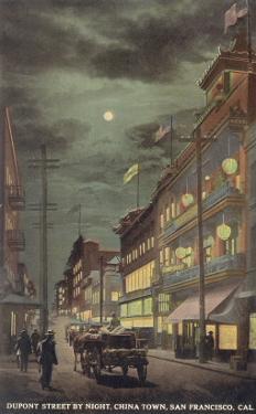 Moon over Dupont Street, Chinatown, San Francisco, California