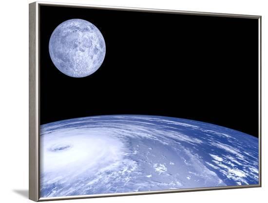 Moon Over Earth-Laguna Design-Framed Photographic Print