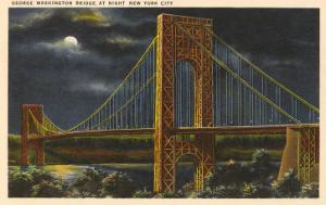Moon over George Washington Bridge, New York City