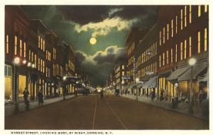Moon over Market Street, Corning, New York