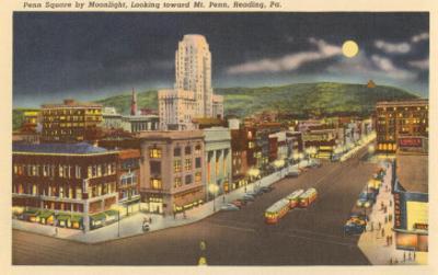 Moon over Penn Square, Reading, Pennsylvania