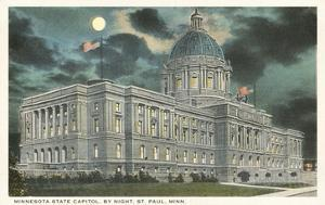Moon over State Capitol, St. Paul, Minnesota