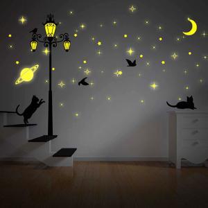 Moon Stars and Glow in Dark Street Light