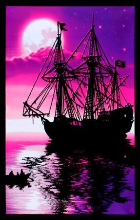 Moonlit Pirate Ghost Ship Blacklight Poster Art Print