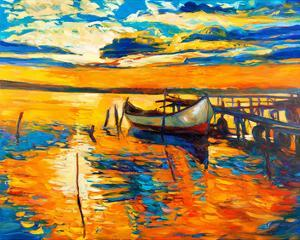 Moored Boat and Ocean Sunset