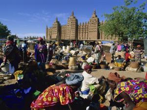 Monday Market Outside the Grand Mosque, UNESCO World Heritage Site, Djenne, Mali, West Africa by Morandi Bruno