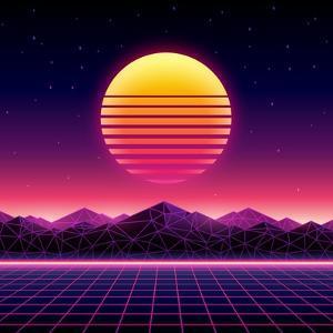Retro Futuristic Background 1980S Style. Digital Landscape in a Cyber World. Retro Wave Music Album by More Trendy Design here