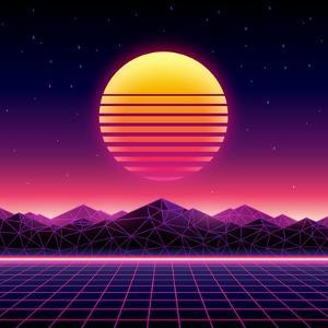 Retro Futuristic Background 1980S Style. Digital Landscape in a Cyber World. Retro Wave Music Album by More Trendy Design here