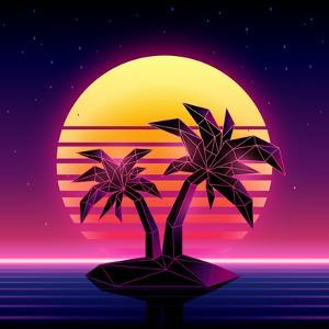 Retro Futuristic Background 1980S Style. Digital Palm Tree on a Cyber Ocean in the Computer World. by More Trendy Design here