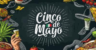 Cinco De Mayo Lettering and Mexican Traditional Food with Tequilla, Guacamole, Quesadilla, Enchilad by MoreVector