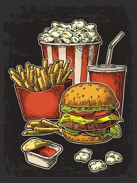 Poster with Fast Food. Cup Cola, Hamburger, Hotdog, Fry Potato in Red Paper Box, Carton Bucket Popc by MoreVector