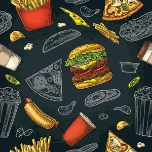 Seamless Pattern Fast Food. Cup Cola, Coffee, Chips, Hamburger, Pizza, Hotdog, Fry Potato Paper Box by MoreVector