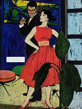 """Marriage Bait  - Saturday Evening Post """"Men at the Top"""", August 17, 1957 pg.26 by Morgan Kane"""