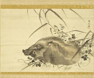 Wild Boar amidst Autumn Flowers and Grasses by Mori Sosen