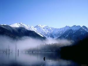 Morning Mist Covers Taisho-Ike Lake and Hodaka Mountain Range, Kamikochi, Nagano, Japan