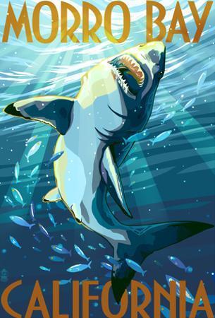 Morro Bay, California - Stylized Sharks