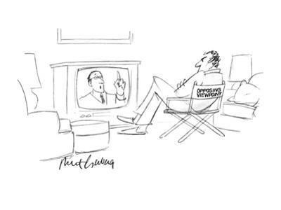 "A man siting in a chair with the words ""Opposing Viewpoint"" on the back, w… - New Yorker Cartoon"