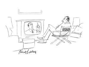 """A man siting in a chair with the words """"Opposing Viewpoint"""" on the back, w… - New Yorker Cartoon by Mort Gerberg"""