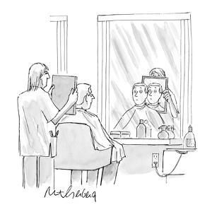 Barber holding mirror up to back of customer's head sees his face   instea? - New Yorker Cartoon by Mort Gerberg