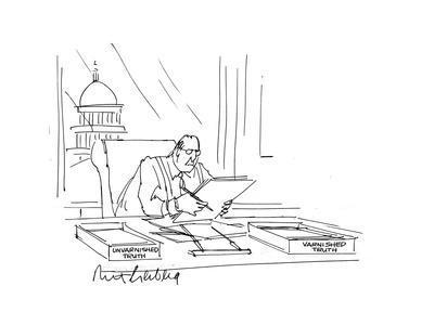 Businessman at desk - Cartoon