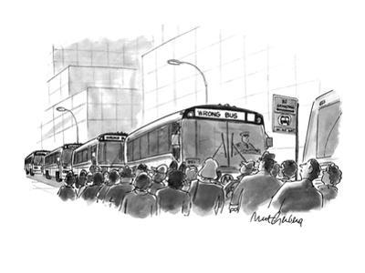 City bus has destination sign saying, 'Wrong Bus'—people crowding to find … - New Yorker Cartoon