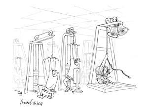 Hunchback/Quasimodo rings bells in gym while other guys pull weights. - New Yorker Cartoon by Mort Gerberg