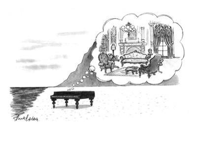 "Piano on beach has mental image of comfortable Victorian parlor. Refers to…"" - New Yorker Cartoon"