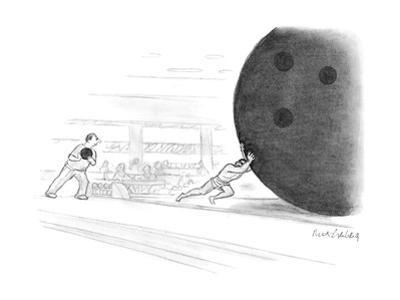 Sisyphus pushes a giant bowling ball. - New Yorker Cartoon