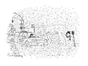 Snowman hailing cab - New Yorker Cartoon by Mort Gerberg