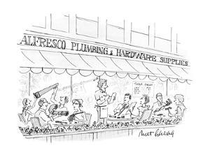 Street cafe that is a hardware store. - New Yorker Cartoon by Mort Gerberg