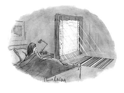 The woman looking at the UPC barcode pattern being thrown on the floor by … - New Yorker Cartoon
