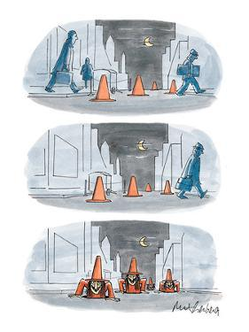 Three panel drawing of a street scene with traffic pylons that are actuall… - New Yorker Cartoon by Mort Gerberg