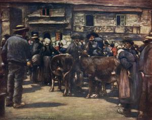 French Cattle Market 20C by Mortimer Menpes