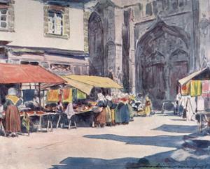 Street Market, Quimperle by Mortimer Menpes