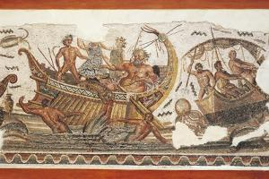 Mosaic Depicting Dionysus and the Old Silenus Fighting Against Pirates in the Mediterranean Sea