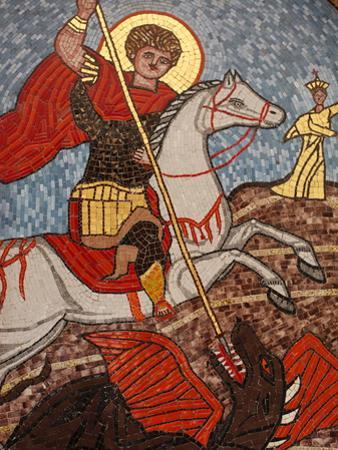 Mosaic of St. George Slaying the Dragon in St. George Coptic Orthodox Church, Cairo, Egypt