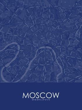 Moscow, Russian Federation Blue Map