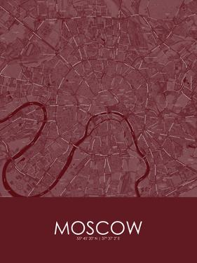 Moscow, Russian Federation Red Map