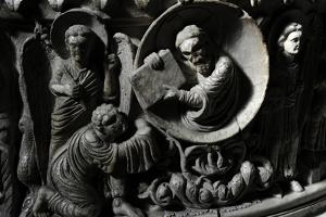 Moses Receives the Law. Baptismal Font. 12th Century. Basilica of San Frediano. Lucca