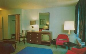 Motel Room with Blue Bedspread