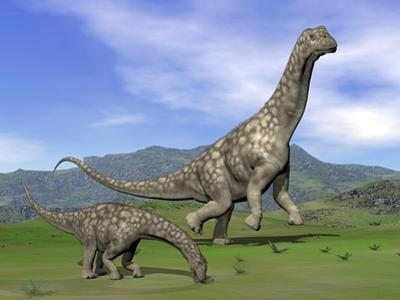 Mother Argentinosaurus Dinosaur and Baby Grazing a Green Landscape
