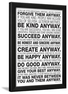 Mother Teresa Anyway Quote Poster