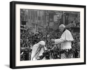 Mother Teresa Ascends the Podium to Stand Side by Side with Pope John Paul II