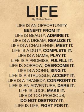 Mother Teresa Life Quote Poster