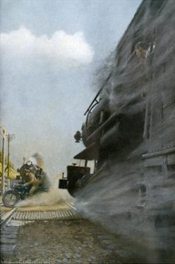 Motorcyclist narrowly Escapes Crossing Between Two Locomotives, Early 1900s